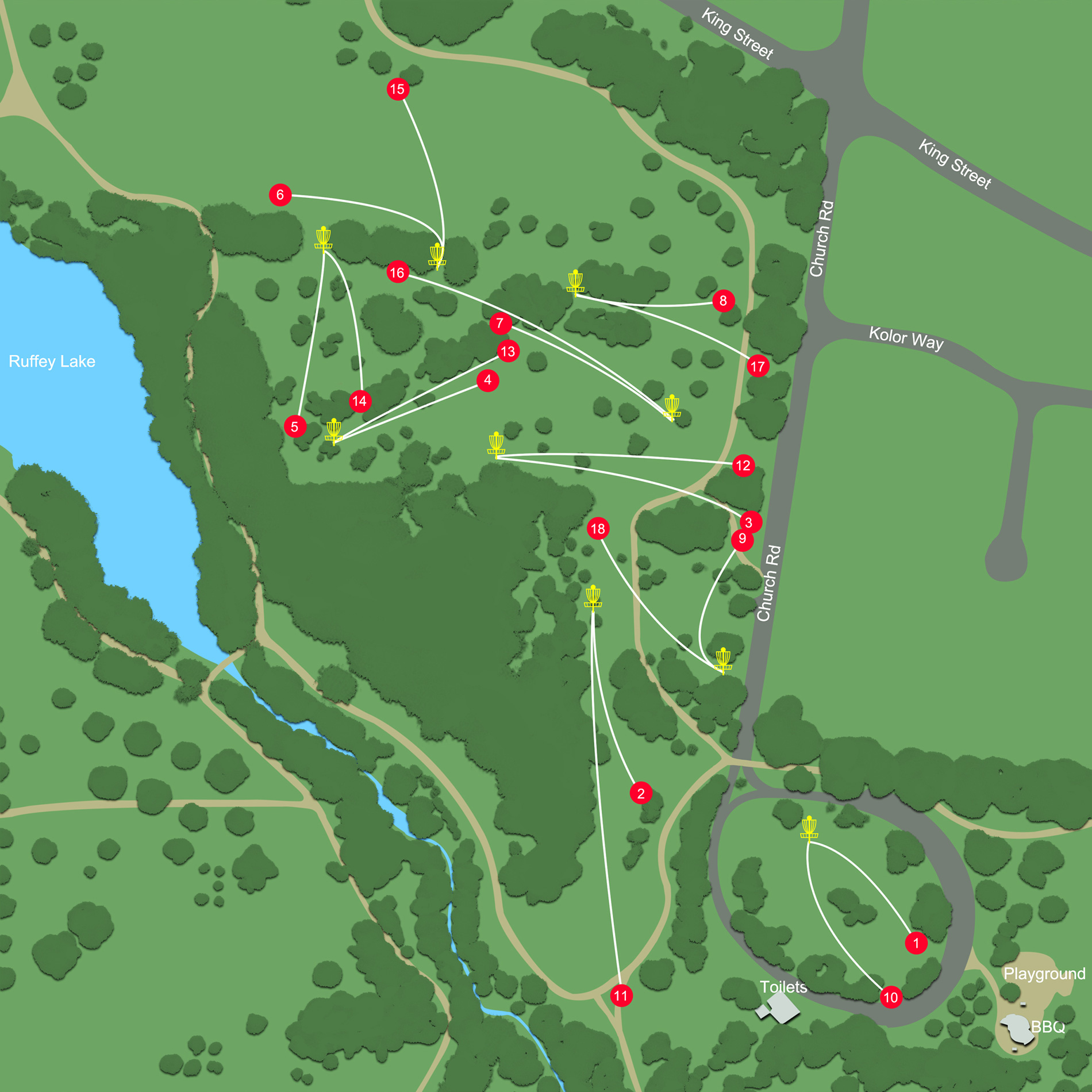 Ruffey Lake Park Disc Golf Course map