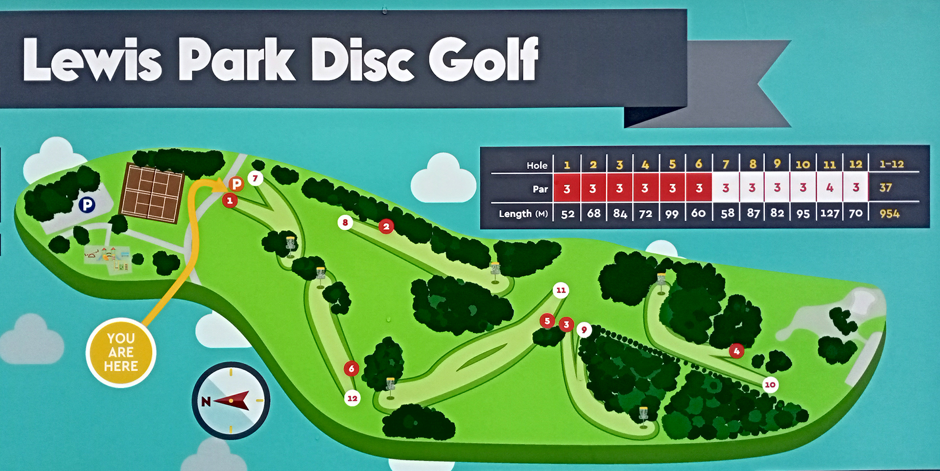 Lewis Park Disc Golf course map