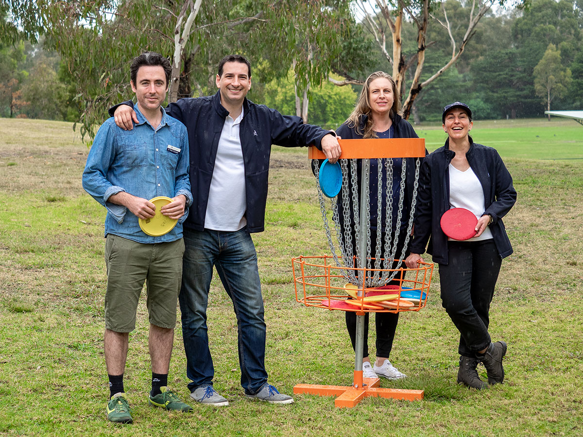 Banyule City Council Councillors participating in the Disc Golf Come and Try Session at Warringal Park